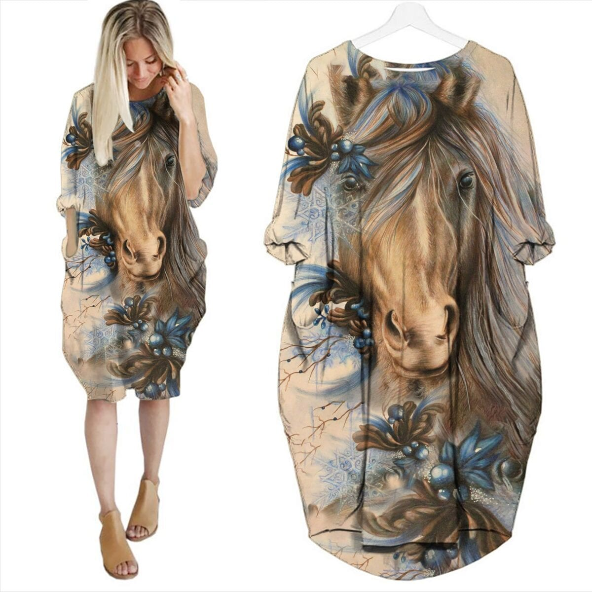 Painting Horse Batwing Pocket Dress