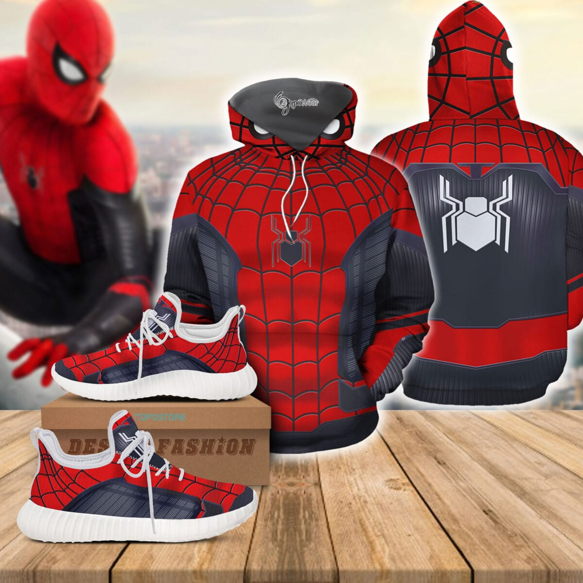 Spider Suit 3D All Over Printed Hoodie Reze Shoes Bundle 1