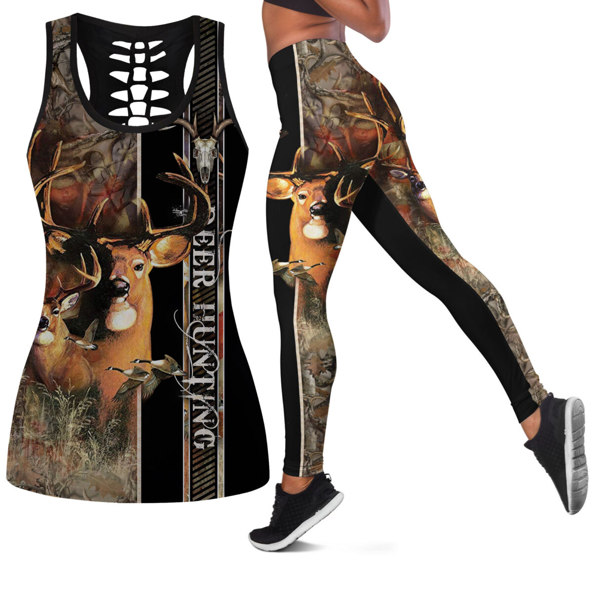 Deer Hunting Leggings and Hollow out Tank Top